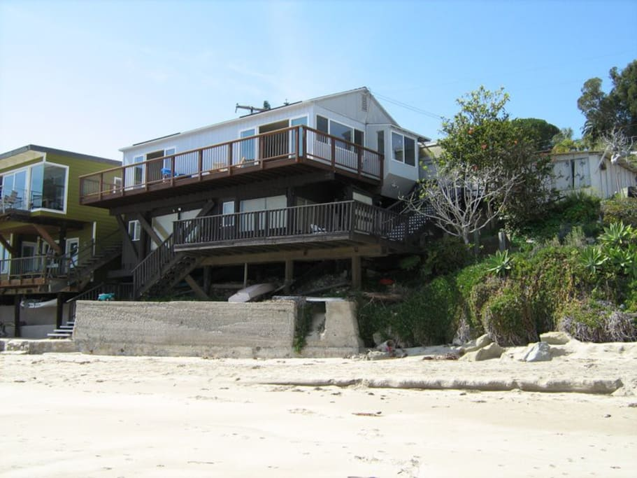 The cottage from the beach.  Rental is top floor, lower studio remains vacant during your stay.