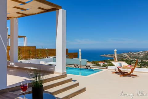 Myrtia Villa★Prive Heated Glass Pool★Jacuzzi★View★