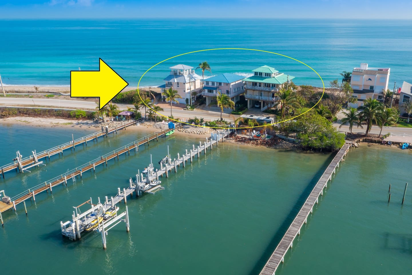 """The Ocean-to-River Beach-House Resort combines three beach houses -- """"As Good as it Gets"""" (left), """"Heaven Can't Wait"""" (middle) and """"Carpe Diem"""" (right) -- into one easy-to-book, price-discounted listing.  For details, photos and reviews of each  house, please visit the home's individual AirBnB listing."""