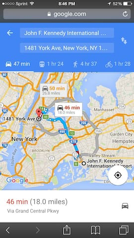 from John F Kennedy 47 minutes if you have a car if u select subway  1 hr and 24 min