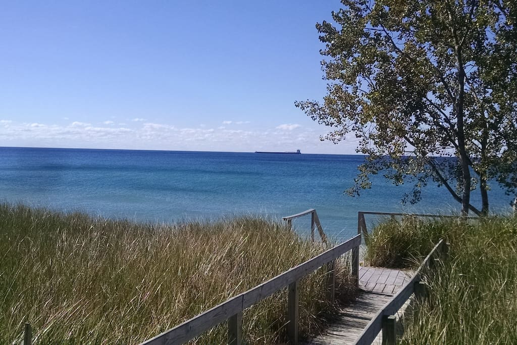 Watch the freighters from the front deck