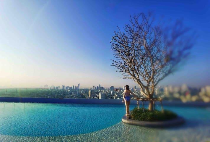 T2曼谷33层顶楼无边泳池/机场快线站/火车夜市/贵妇楼T21/水门市场/尚泰购物中心/四面佛