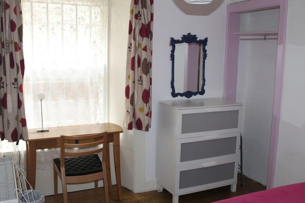 wardrobe, chest of drawers, desk