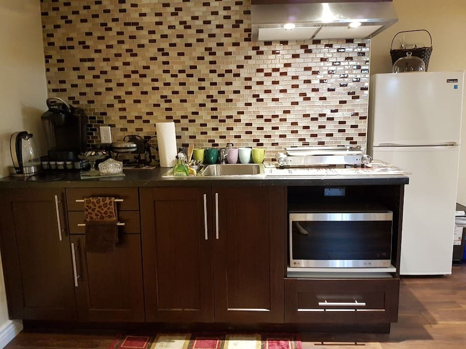 Kitchenette with fridge, 2hot burner, microwave, coffee maker, electeic kettle + bowls & dishes