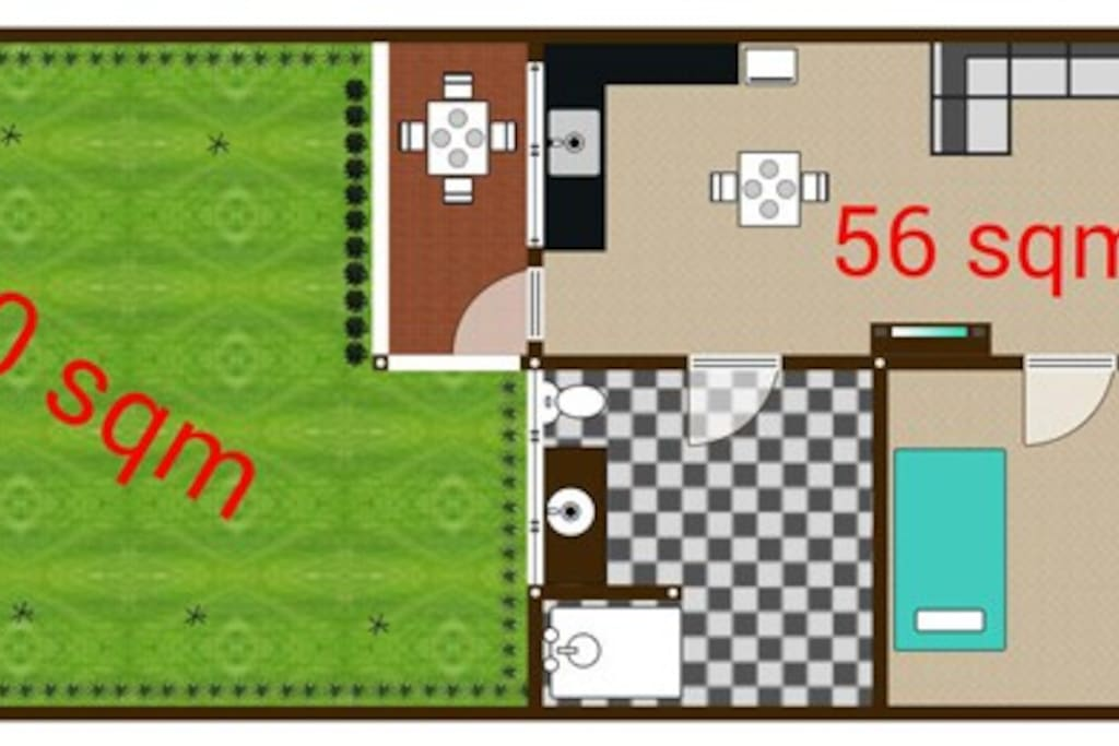 Floorplan - 56 sqm + 40 sqm privat garden