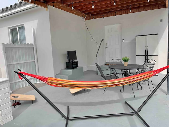 Modern Studio with King Bed and Patio Area