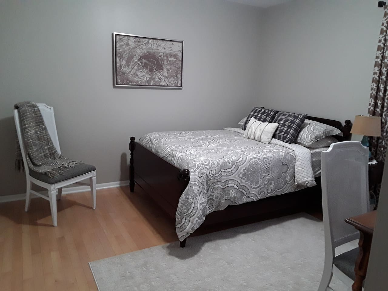 Full size bed with memory foam topper.