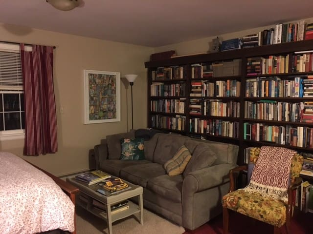 You can see that we have books and art in the guest suite.