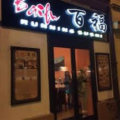 Running sushi is few minutes from our apparment for a good price in Bělehradská street.