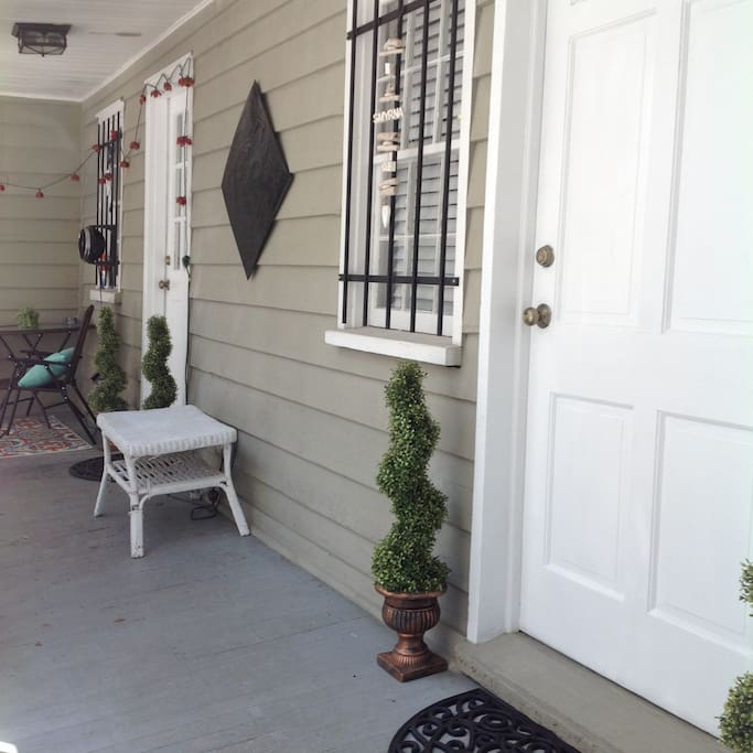 Your porch has a main entrance and a separate door to the master bedroom.