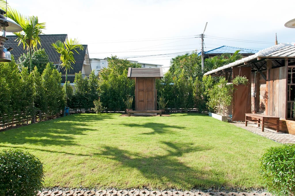 Shared multipurpose front yard and your private entrance.
