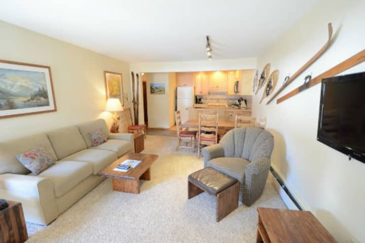 Well-equipped condo w/gas fireplace, shared outdoor pool, and free WiFi