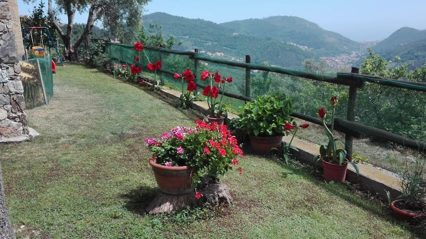 In collina con giardino vista mare