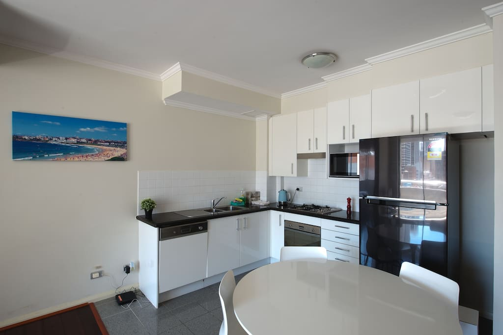 Kitchen - microwave, stove top, fridge, dishwasher, oven