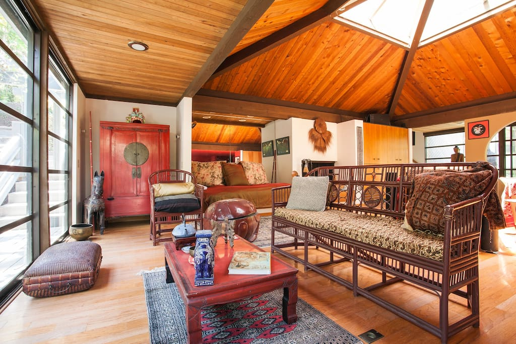 TEA SITTING AREA & Living Room furnished with SE Asian Art & Accessories