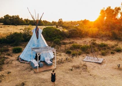 Unique tipi on organic farm surrounded by nature