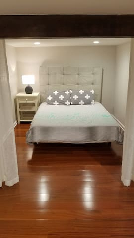 Luxurious Queen Bed with Privacy Curtain