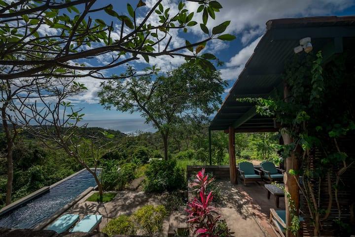 Airy tropical villa sleeps 8, 180°ocean view, pool