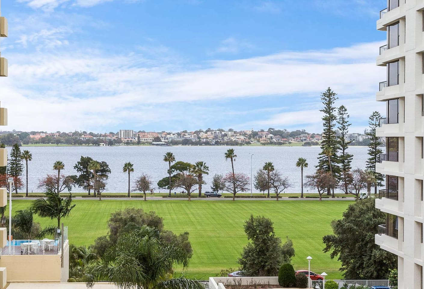 Enjoy the view over Swan River & Langley Park from the Balcony