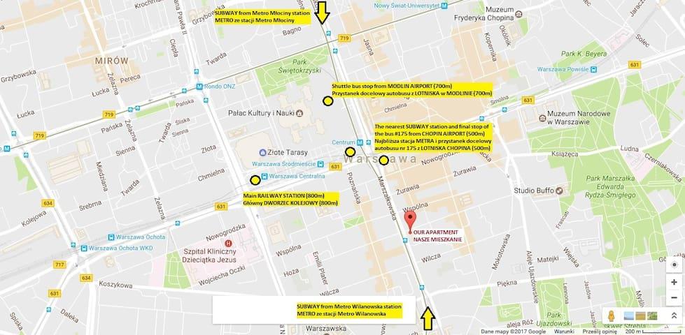 Final stops of all types of transportation are within walking distance. Z końcowych przystanków wszystkich rodzajów transportu można dojść pieszo.