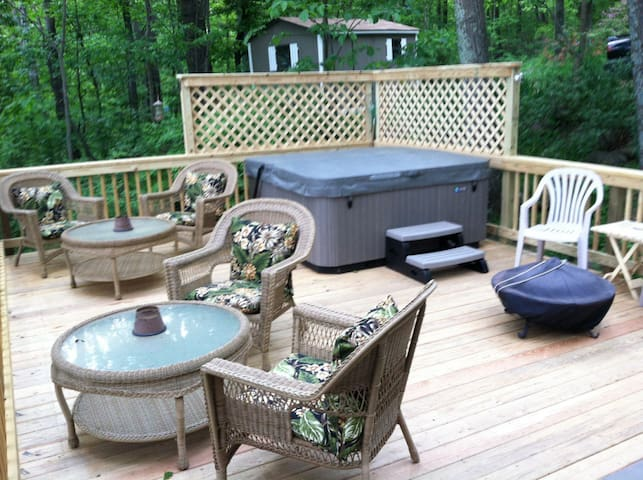 Large deck with hot tub & fire cauldron