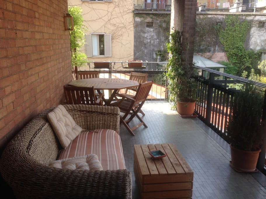 Terrace with table and sofa