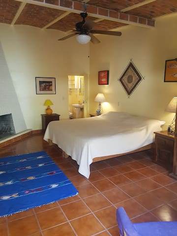 Generous sized bedroom with King Size Bed, ensuite with shower, fireplace and ample storage