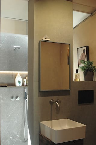 Contemporary bathroom facilites with high end fixtures