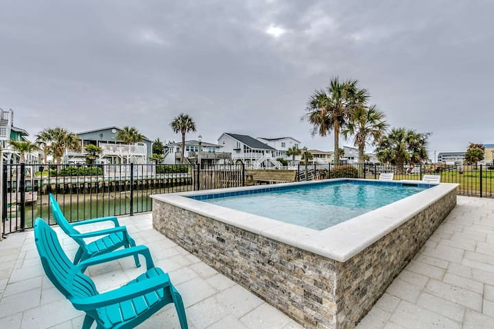 Ocean View Channel Home w/ Pool in One of TripAdvisor's Top 25 Beaches in the US!
