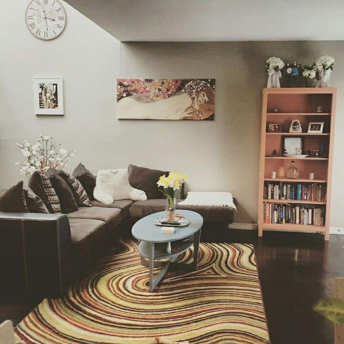 Extra-large comfy sofa.