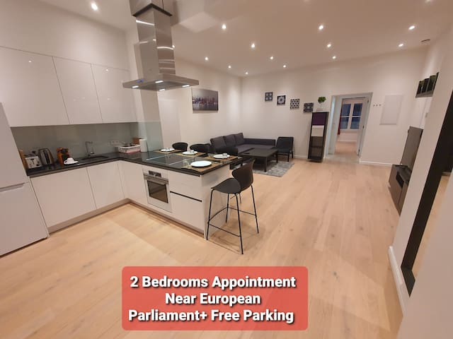 2 bedroom appart near Euro Parliam + free parking