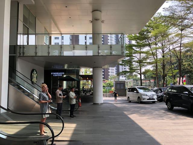 Private lift with Daiso, Resto, Papaya & Starbucks