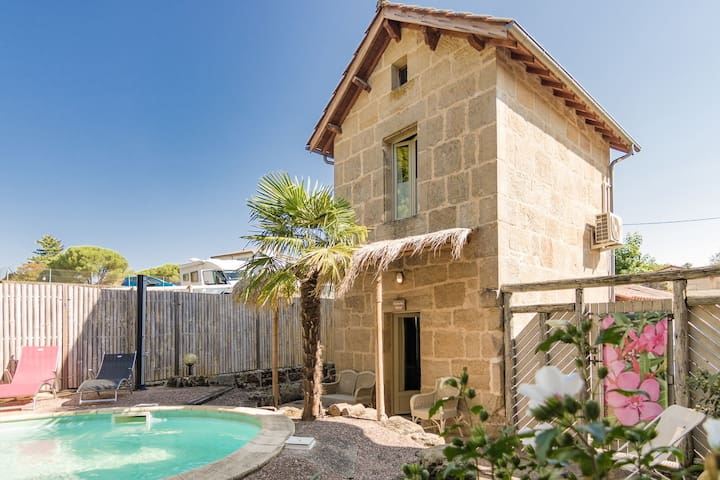 Luxurious restored building with heated swimming pool, terraces and jacuzzi.