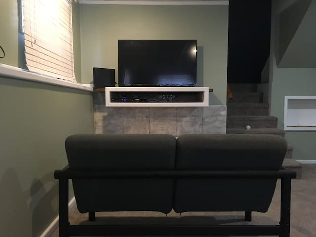 Gaming area with TV that should allow for most systems to connect.