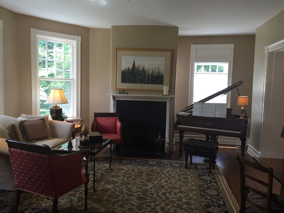 Gas fireplace and piano