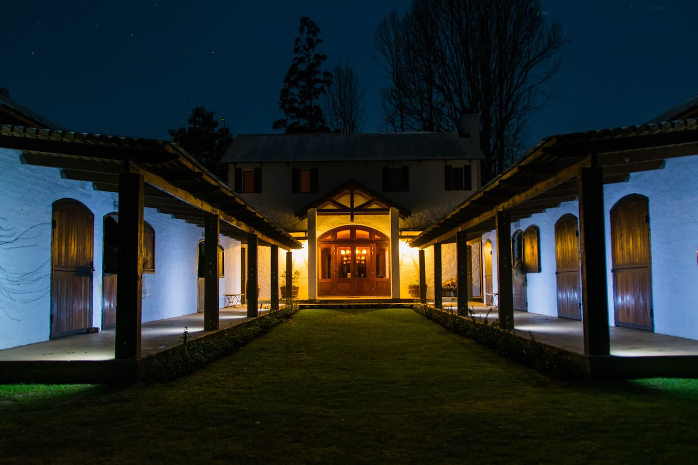The Stables courtyard at night