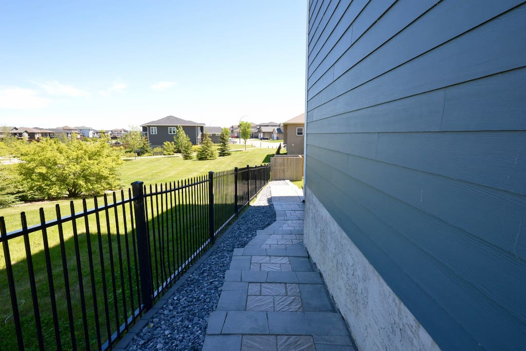 Side walkway to private entry.