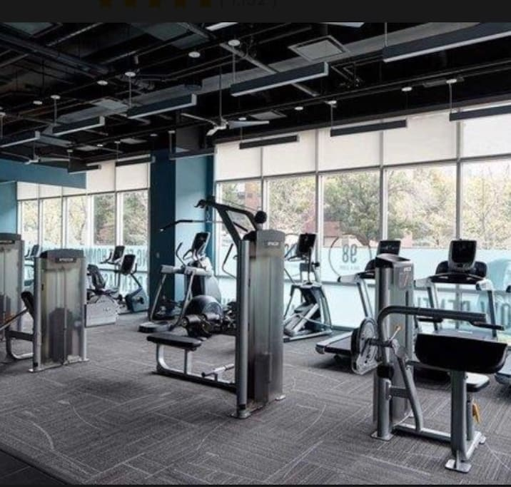 Weight room in apartment building.