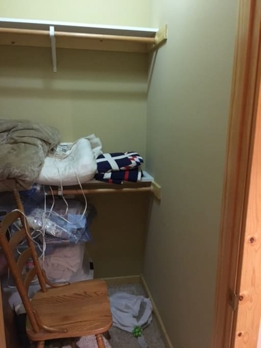 This is the closet, but it will be tightened up or cleaned out for use