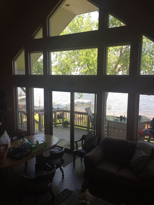Great view of the lake from indoors.