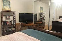 Set up with a table, tv, coffee maker, tea kettle, and a few dishes to make your stay comfortable.