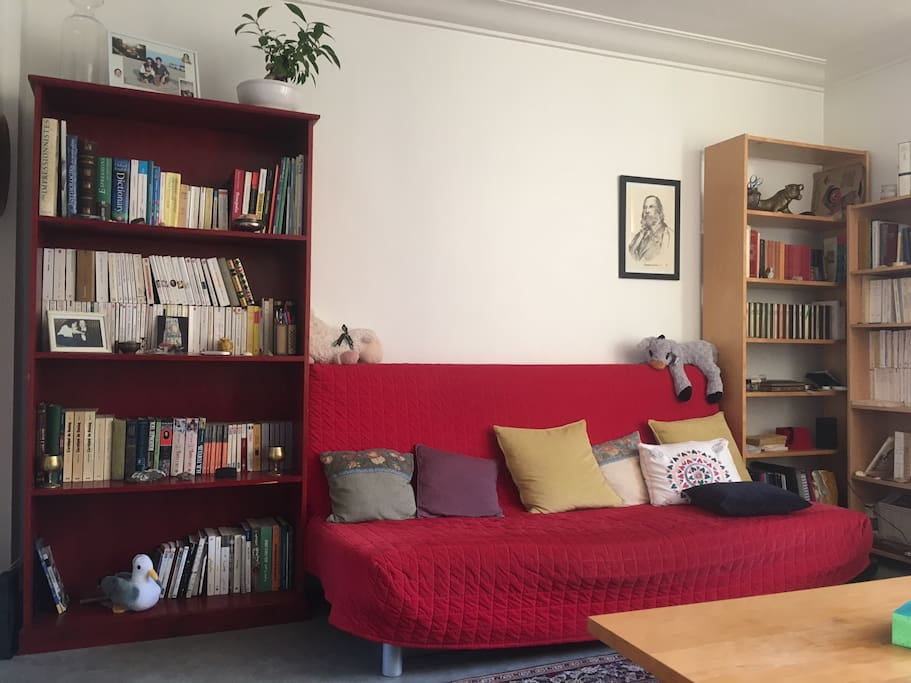Our favorite sofa and books