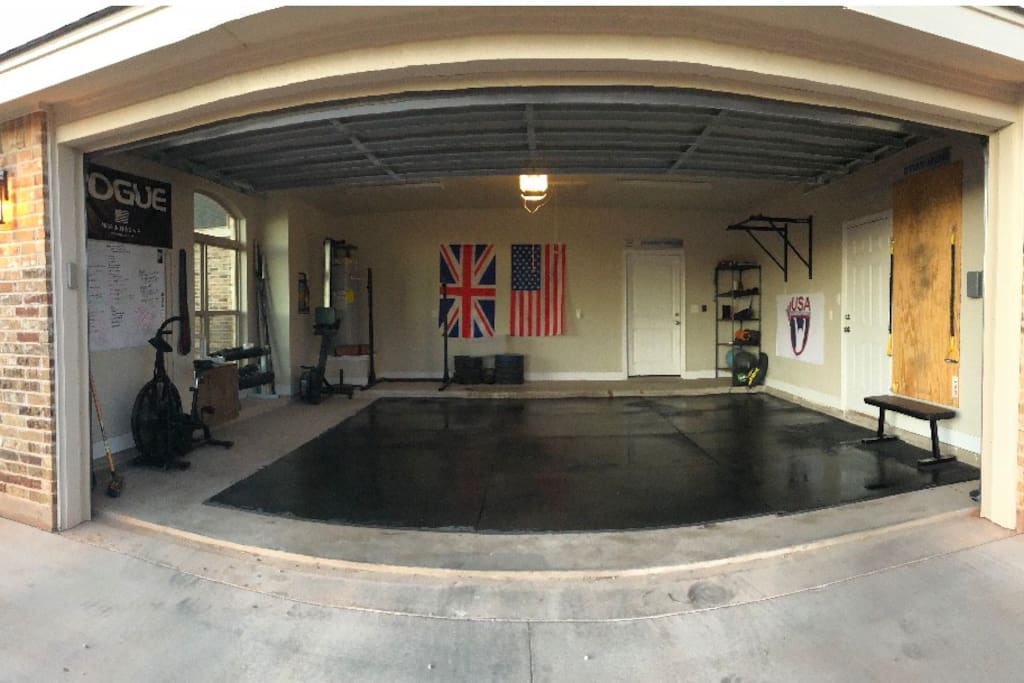 2 car garage, with gym. Still able to fit a truck and SUV