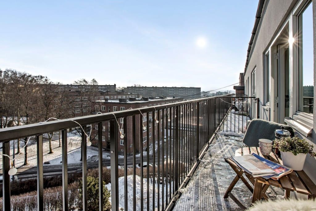 Enjoy breakfast on a sunny balcony. The apartment gets direct sunlight until 2-3PM during summer.