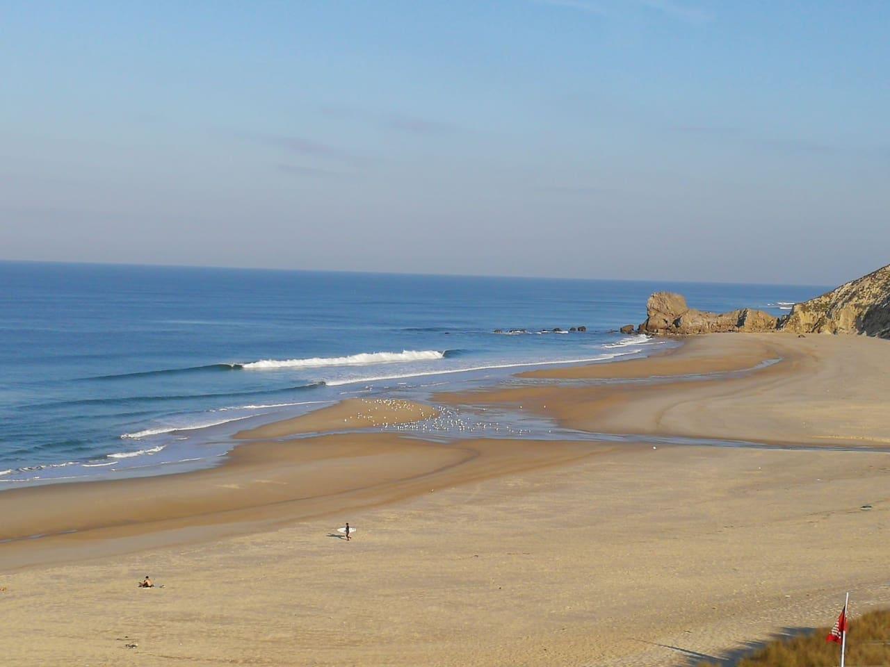 The nearest beach, Paredes da Vitória. Here you'll find restaurants, bars. 5  min walking