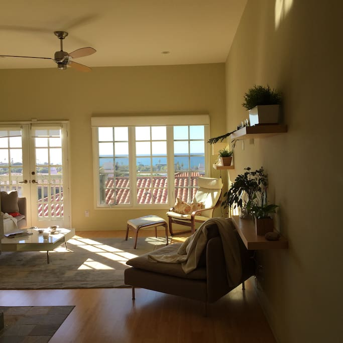 Sunny view from entry way with panoramic 180 degree ocean vistas