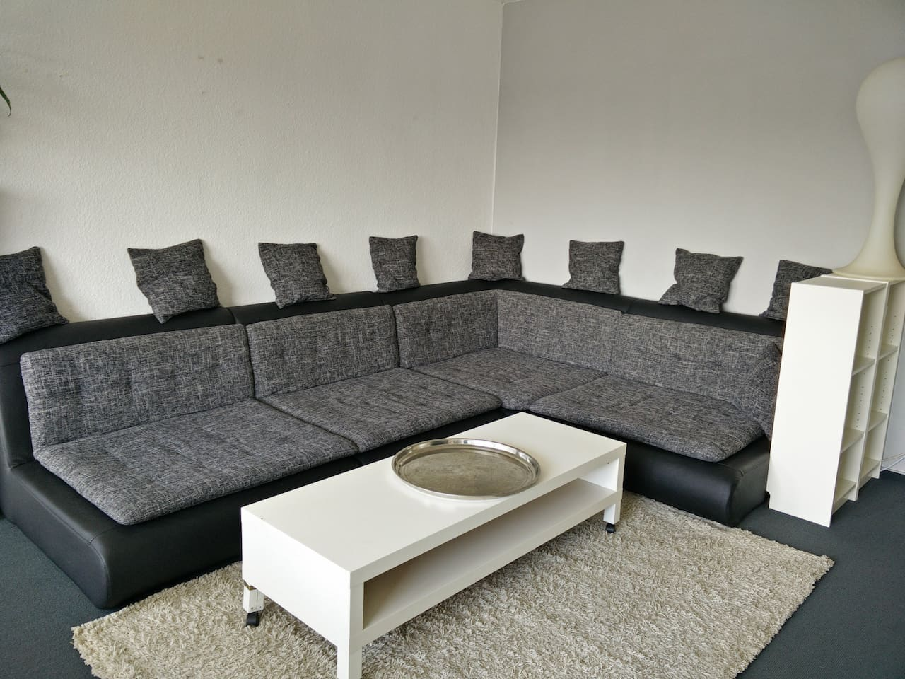 Big comfortable sofa. Place for two people to sleep.