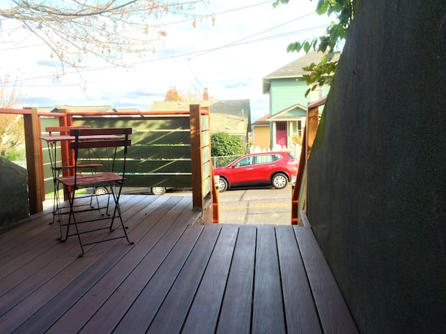The hangout deck is big enough to be like an outdoor room.