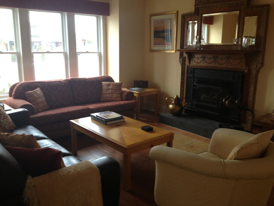 Guest lounge, gas fire, spacious