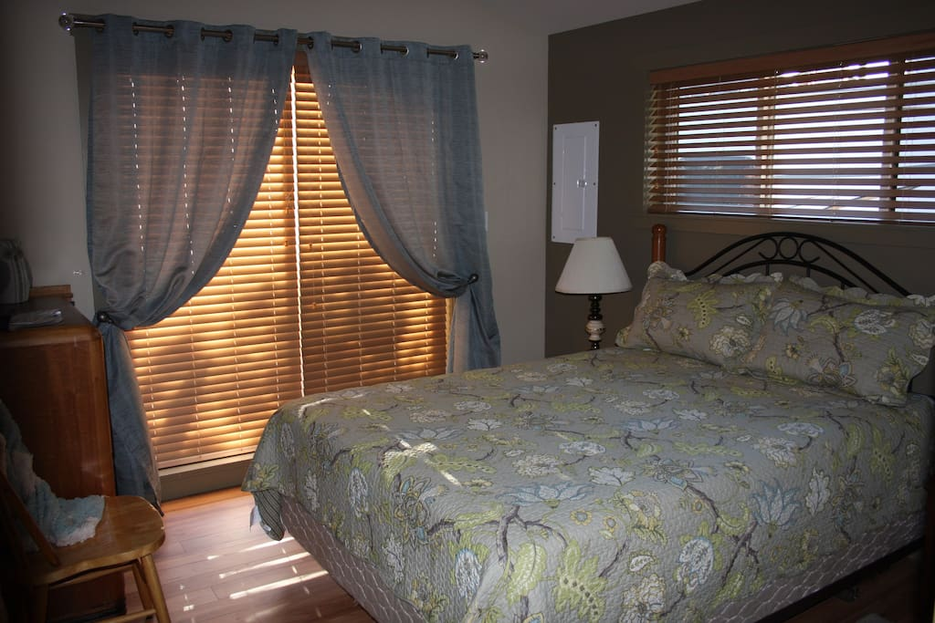 Cozy bedroom with queen size bed with memory foam